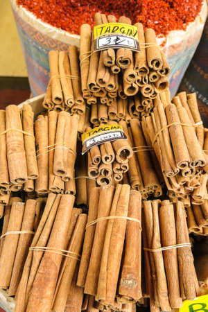 The famous oriental market. Typical cinnamon sticks in Istambul, Turkey Stock Photo