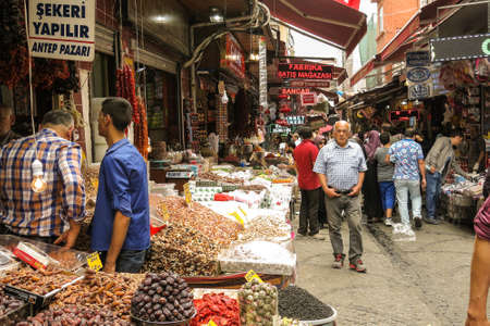 bazar: ISTANBUL, TURKEY - MAY 21, 2016: Exterior Grand Bazaar in Istanbul with unidentified people. It is one of the largest and oldest  markets in the world.