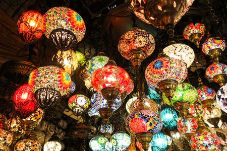 bazaar: Colorful Turkish lamps in the Grand Bazaar of Istanbul, Turkey Stock Photo