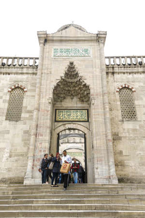 each year: ISTANBUL, TURKEY - MAY 22, 2016 - Entrance to Blue Mosque on Sultanahmet in Istanbul, Turkey. More than 32 million tourists visit Turkey each year.