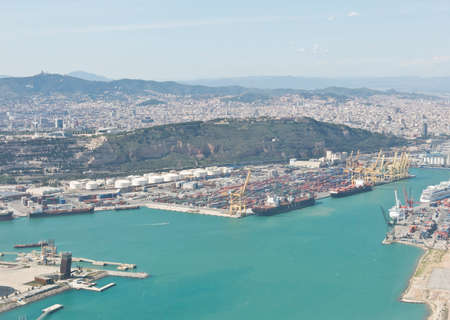 industrial park: BARCELONA, SPAIN - MAY 23, 2014: Port of Barcelona - logistics port area in Barcelona. Has more than 3,000 metres of berthing line Editorial