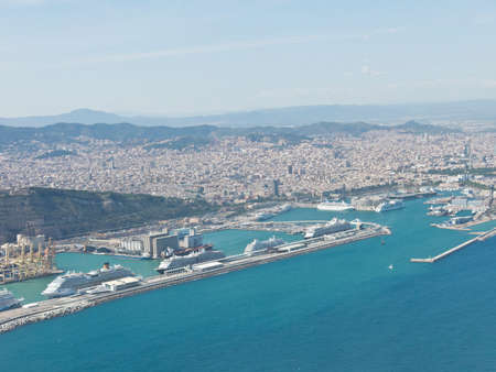tibidabo: Panoramic view of Barcelona and port in Spain.