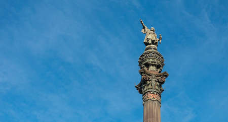 columb: Christopher Columbus monument in the sea front, Barcelona, Spain Stock Photo