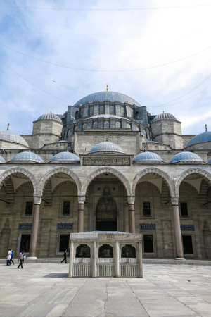 ISTANBUL, TURKEY - MAY 21, 20126: The courtyard of the Suleymaniye Mosque. The Suleymaniye Mosque is the largest mosque in the city, and one of the best-known sights of Istanbul.