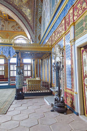 Beautifully decorated vintage audience hall of Sultan at Topkapi palace in Istanbul, Turkey