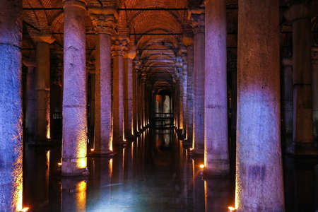 constantinople ancient: The Basilica Cistern - underground water reservoir build by Emperor Justinianus in 6th century, Istanbul, Turkey