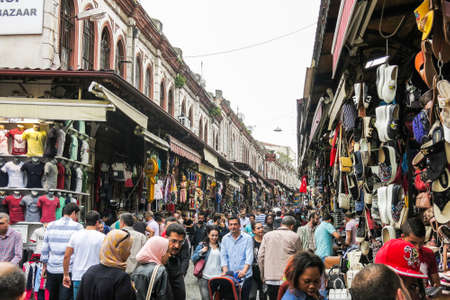ISTANBUL, TURKEY - MAY 21, 2016: Grand Bazaar in Istanbul with unidentified people. It is one of the largest and oldest covered markets in the world, with 61 covered streets and over 3,000 shops