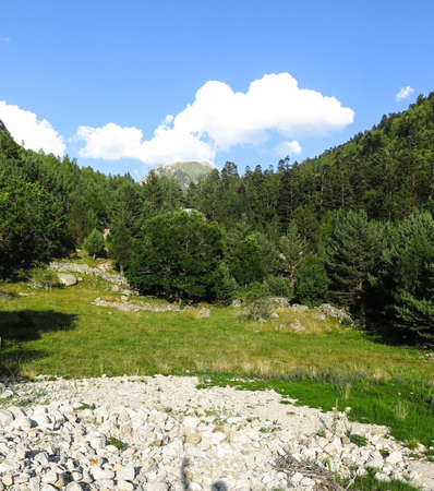 Panorama to Aiguestortes National Park in the Catalan Pyrenees, Spain Stock Photo