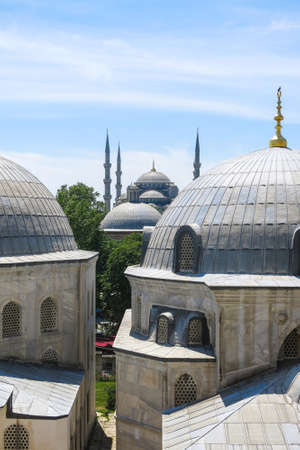 Domes of Saint Sophie Cathedral and Blue Mosque, from Saint Sophie, Istanbul, Turkey.