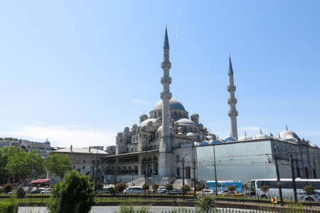 each year: ISTANBUL, TURKEY - MAY 20, 2026: View of Yuni mosque from the Bosphorus river in Istanbul. More than 32 million tourists visit Turkey each year.