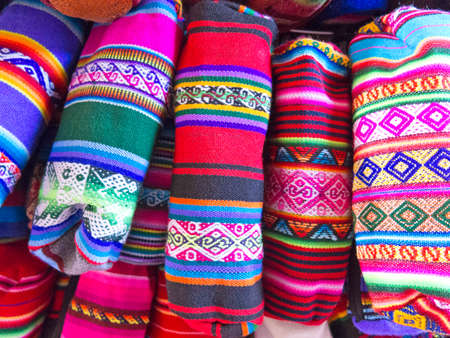 andean: Display of traditional souvenirs at the market in La Paz city, Bolivia.