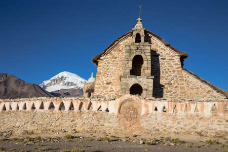 Church in the Sajama National Park, Bolivia. Sajama National Park is a national park located in the Oruro Department, Bolivia. It borders Lauca National Park in Chile.