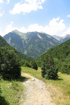 Small path inside the Aigüestortes National Park in the Catalan Pyrenees, Spain. The main crest of Pyrenees forms a divide between France and Spain, with the microstate of Andorra sandwiched in between Stock Photo
