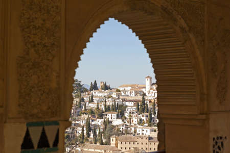 Cityscape of Granada city and the Albaicin district, from the Alhambra palace. Spain. The Alhambra is a palace and fortress complex located in Granada, Andalusia, Spain. Its a UNESCO World Heritage Site