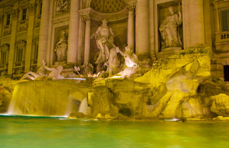 The famous and romantic Trevi Fountain, Fontana de Trevi. Rome, Italy. it is the largest Baroque fountain in the city and one of the most famous fountains in the world