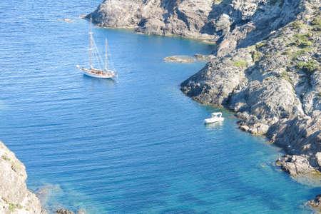 northern spain: Sailing ship in the Mediterranean Sea. Cap de Creus Park. Costa Brava of Catalonia in Spain. The Cap de Creus, a natural park, situated in the northern Costa Brava, Girona province, Catalonia, Spain.
