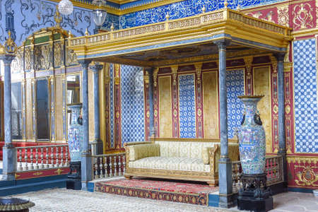 Beautifully decorated vintage audience hall of Sultan at Topkapi palace in Istanbul, Turkey. Topkapi Palace is imperial era, fifteenth century, and is one of the biggest tourist attractions in Istanbul.