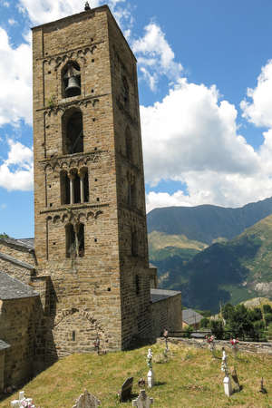 pyrenees: Church of Durro example of Romanesque art. Durro, typical stone village in the Catalan Pyrenees, near the border with France. valley of Bohí in Catalonia, Spain Stock Photo