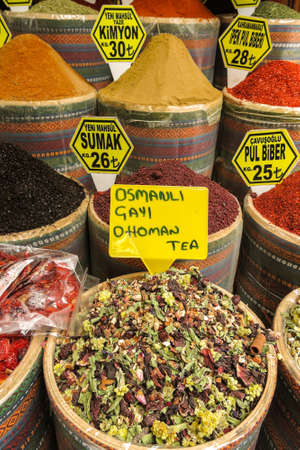 Various spices and tea on a counter on the Grand Bazaar in Istanbul, Turkey. The Spice Bazaar (meaning Egyptian Bazaar) in Istanbul, Turkey is one of the largest bazaars in the city.