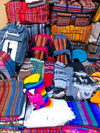 glove puppet: Display of traditional souvenirs at the market in La Paz city, Bolivia.