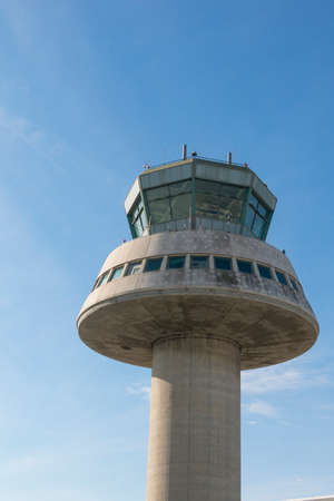 BARCELONA - OCT 16: Control tower on October 16, 2016 in Barcelona, Catalonia, Spain. The Prat-Barcelona International Airport is the busiest airport in SpainControl tower in Barcelona Airport, Catalonia, Spain.  The Prat-Barcelona International Airport i