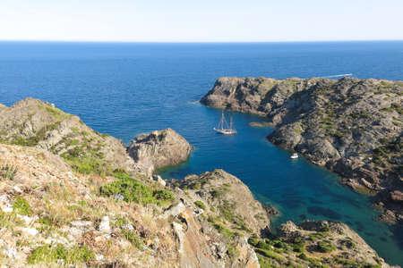 Sailing ship in the Mediterranean Sea. Cap de Creus Park. Costa Brava of Catalonia in Spain Stock Photo