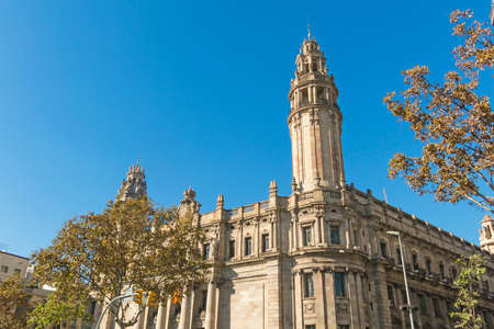 The famous central Post Office building in the city of Barcelona, Spain. The central post office is located between Via Laietana street and Christopher Columbus street Editorial