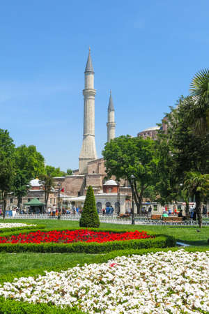 ISTANBUL, TURKEY - MAY 20, 2016: Istanbul, Sultanahmet square with views of the Hagia Sophia. More than 32 million tourists visit Turkey each year. Editorial