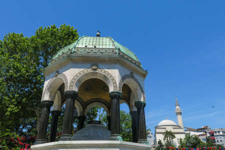 each year: ISTANBUL, TURKEY - MAY 20, 2016: Istanbul, German Fountain or Alman Çe?mesi in Sultán Ahmed Park. More than 32 million tourists visit Turkey each year. Editorial