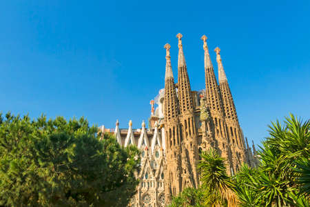 BARCELONA, SPAIN - MAY 18, 2017: Nativity facade of La Sagrada Familia - the impressive cathedral designed by Gaudi, which is being build since Mar 19, 1882 and is not finished yet.