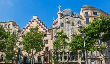 BARCELONA, SPAIN - MAY 27, 2017: The Casa Batllo, by Gaudi, and Casa Ametller by Puig i Cadafalch, examples of Catalan modernist architecture. Barcelona, Spain Editorial