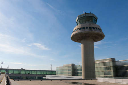 BARCELONA - OCT 16: Control tower on October 16, 2016 in Barcelona, Catalonia, Spain. The Prat-Barcelona International Airport is the busiest airport in Spain Editorial