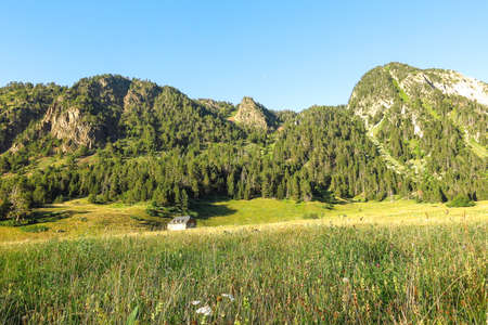 Panoramic of Aran valley in the Catalan Pyrenees, Spain