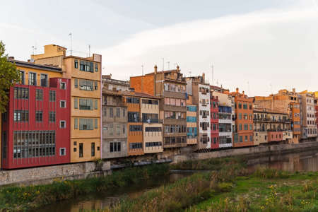 jewish houses: Gerona city: facade of the houses on the bank of river Onyar. Costa Brava, Catalonia, Spain.