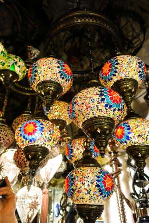 Colorful Turkish lamps in the Grand Bazaar of Istanbul, Turkey Stock Photo