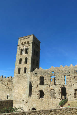 The Romanesque abbey of Sant Pere de Rodes in Rodes Mountain Range, in the municipality of El Port de la Selva. It is a former Benedictine monastery in the comarca of Alt Emporda, in the North East of Catalonia, Spain. Stock Photo