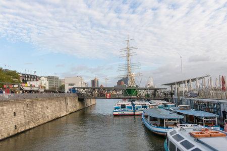 Hamburg, Germany - October 29, 2016: The three masted barque Rickmer Rickmers moored as a museum ship in the port of Hamburg.