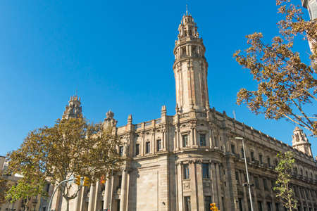 The famous central Post Office building in the city of Barcelona, Spain. The central post office is located between Via Laietana street and Christopher Columbus street Stock Photo