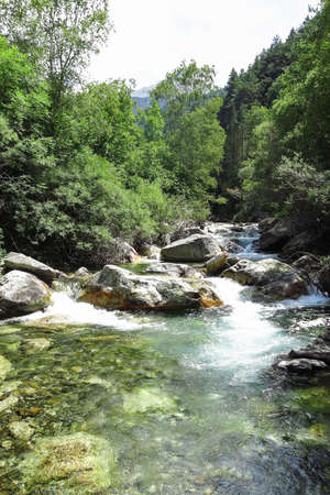 Sant Nicolau river inside the Aigüestortes National Park in the Catalan Pyrenees, Catalonia, Spain Imagens