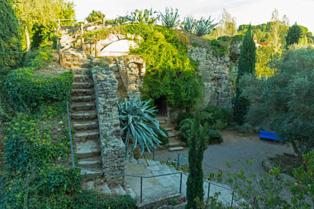 The gardens of Caserna dels Alemanys, in the downtown of Girona. One of oldest cities in Europe with a well-preserved medieval buildings. Catalonia. Spain Stock Photo