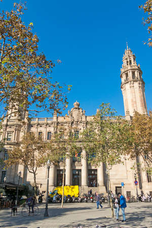 BARCELONA- NOV 15: The famous central Post Office building in the city of Barcelona on November 15, 2016 in Barcelona, Spain. The central post office is located between Via Laietana street and Christopher Columbus street