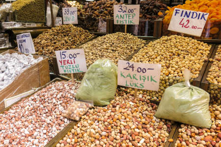 The famous oriental market. Dried nuts and spices in Istambul, Turkey Standard-Bild