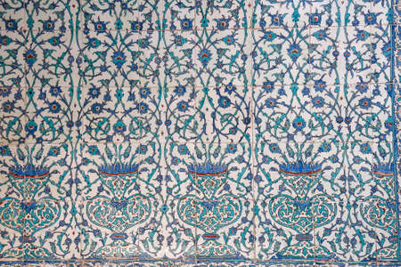 Ancient hand made Turkish - Ottoman tiles, in Topkapi palace, Istambul, Turkey