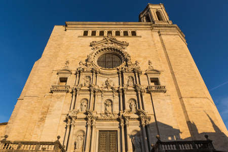 Cathedral in Girona in the setting sun. Sunset. Catalonia, Spain. Editorial