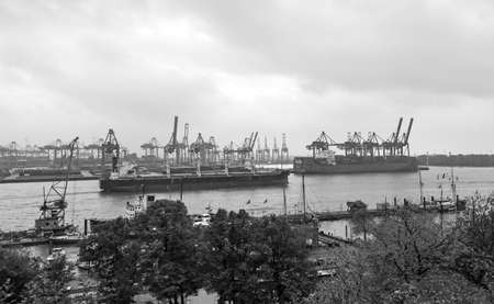 Hamburg, Germany - October 27, 2016. Cargo traffic in Hamburg. It's the central hub for trade with Eastern & Northern Europe. As a container port it takes 2nd place in Europe & seventh place in world