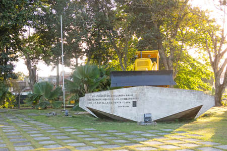 Santa Clara, Cuba - JANUARY  10, 2017: Monument to the derailment of the armored train in Santa Clara, Cuba. Bulldozer was used by Che Guevara troops to break the rails.
