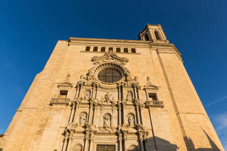 Cathedral in Girona in the setting sun. Sunset. Catalonia, Spain. Stock Photo