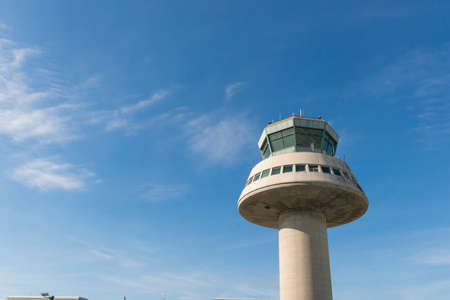 Control tower in Barcelona Airport, Catalonia, Spain.  The Prat-Barcelona International Airport is the busiest airport in Spain