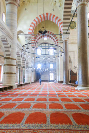 ISTANBUL, TURKEY - MAY 22, 2016: An interior view of Suleymaniye Mosque (Suleymaniye Camisi), Istanbul, Turkey