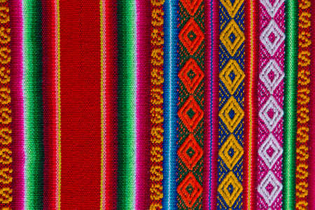 Traditional andean tapestry from northern Argentina and Bolivia. The photo works as a background. Andean culture, of the Quechua and Aymara peoples. Stok Fotoğraf